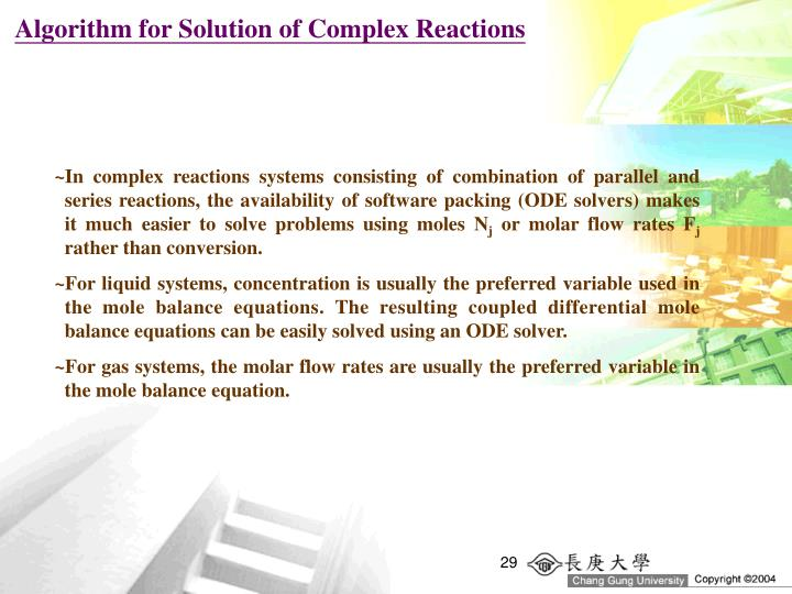 Algorithm for Solution of Complex Reactions