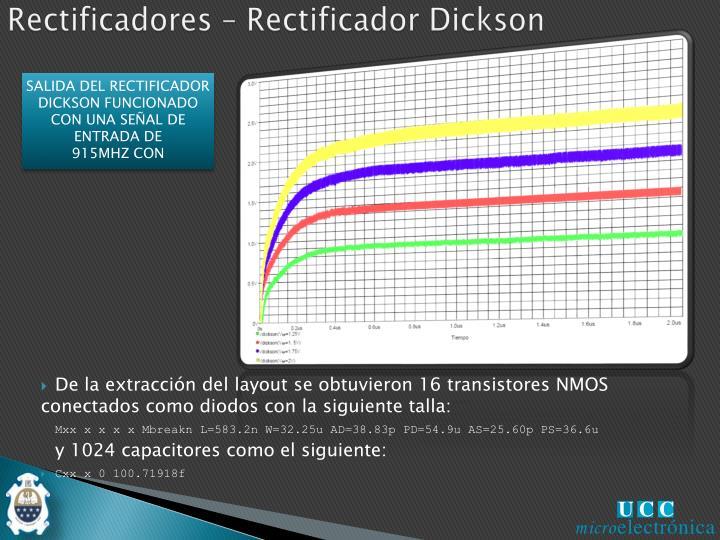SALIDA DEL RECTIFICADOR DICKSON FUNCIONADO CON UNA SEÑAL DE ENTRADA DE