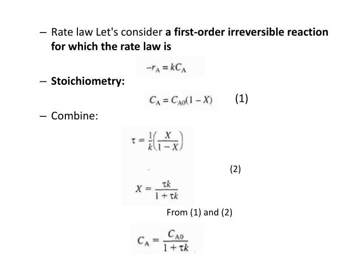 Rate law Let's consider