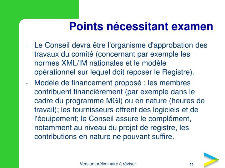 Points nécessitant examen