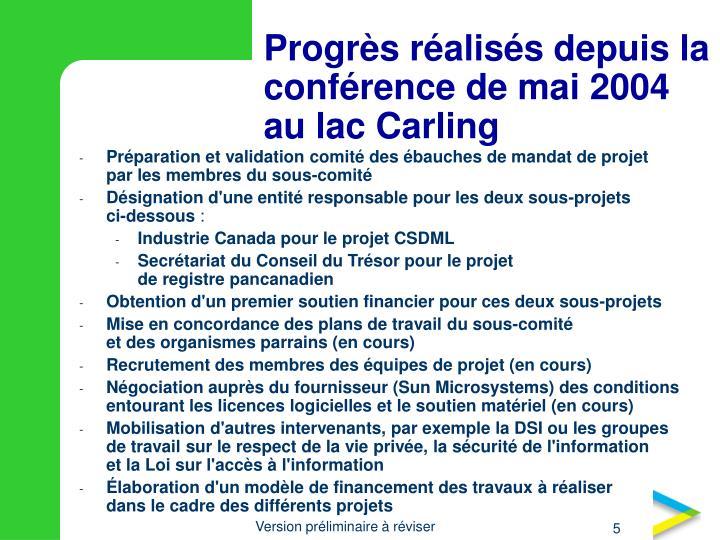 Progrès réalisés depuis la conférence de mai 2004