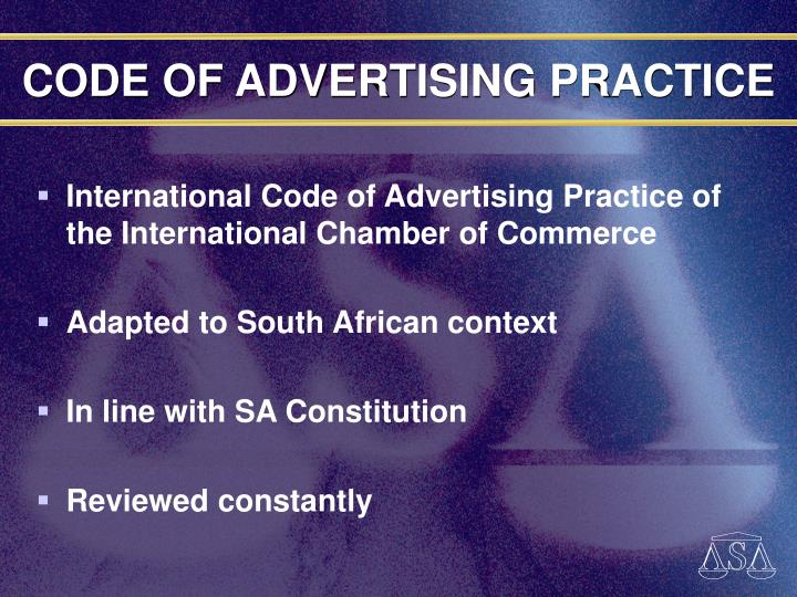 CODE OF ADVERTISING PRACTICE
