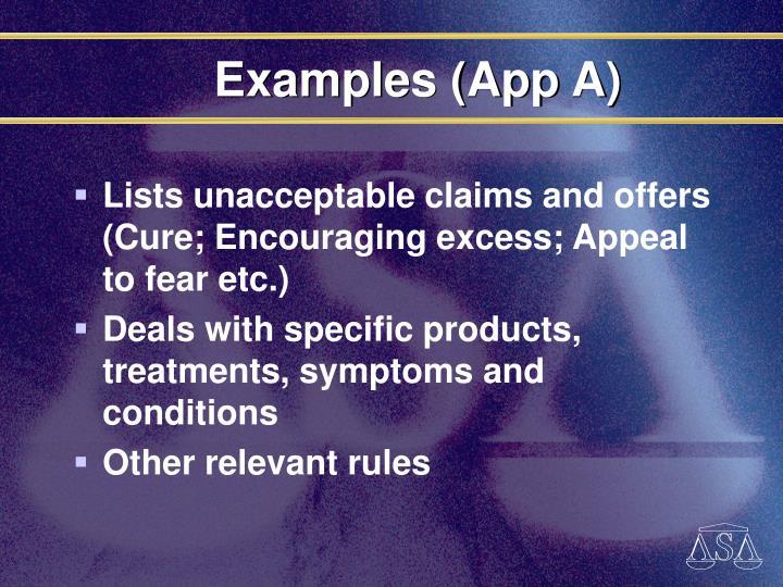 Examples (App A)