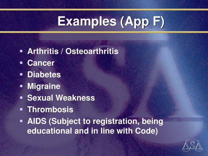 Examples (App F)