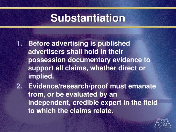 Substantiation