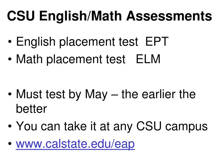 CSU English/Math Assessments