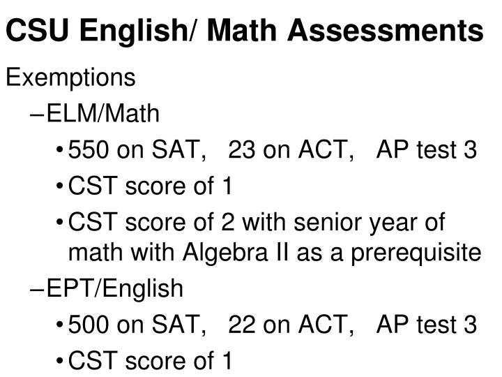 CSU English/ Math Assessments