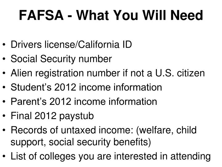 FAFSA - What You Will Need