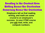 reading in the content area writing across the curriculum numeracy across the curriculum