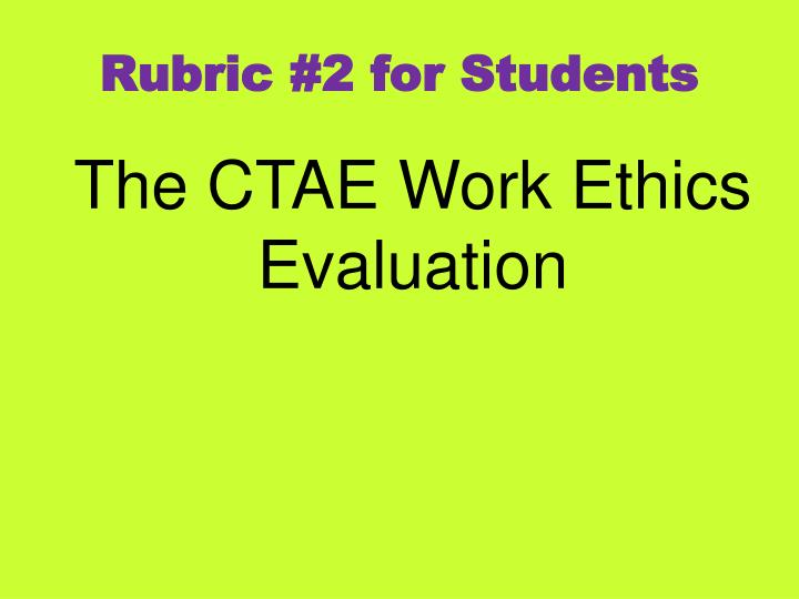 Rubric #2 for Students