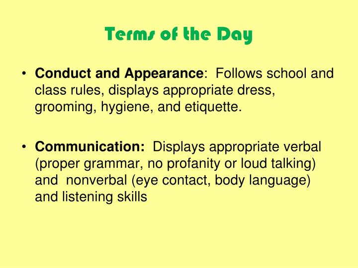 Terms of the Day
