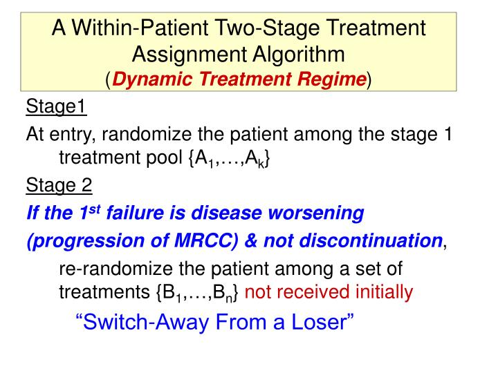 A Within-Patient Two-Stage Treatment Assignment Algorithm