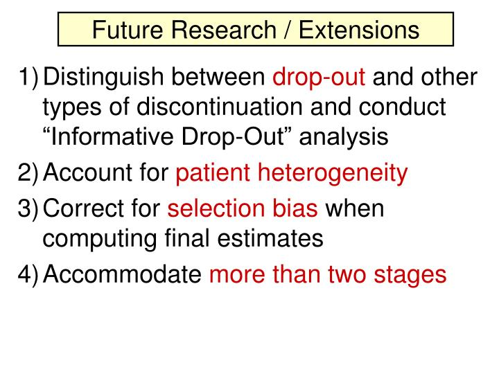 Future Research / Extensions