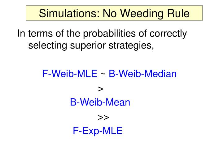 Simulations: No Weeding Rule