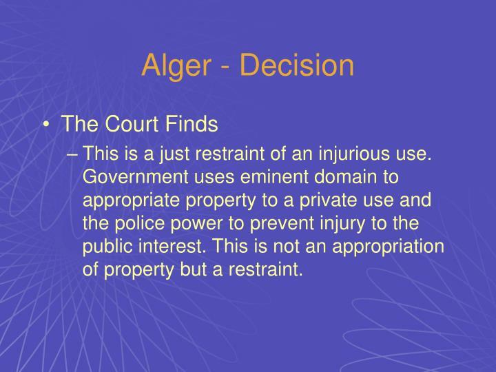 Alger - Decision