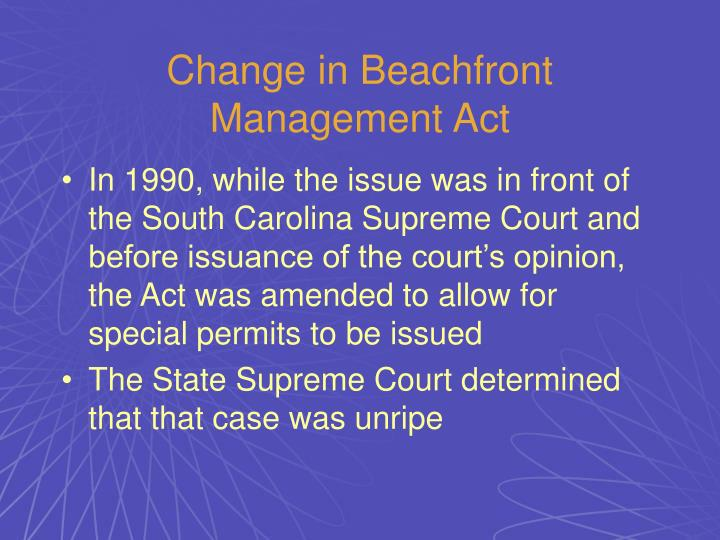 Change in Beachfront Management Act