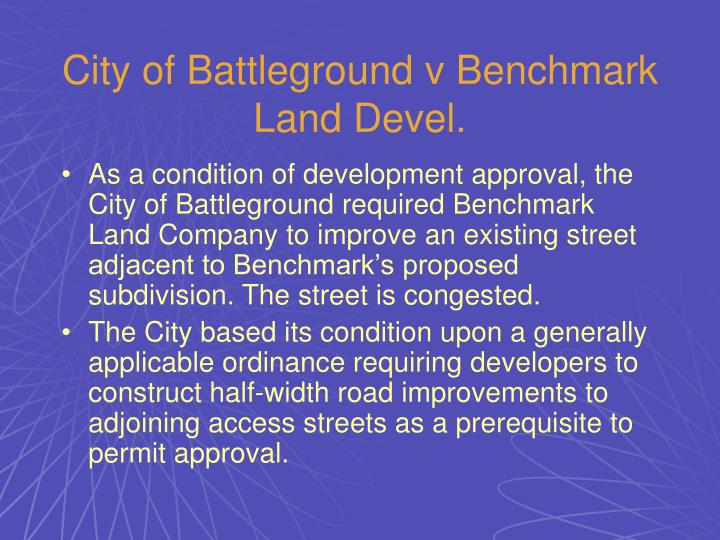 City of Battleground v Benchmark Land Devel.