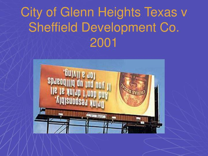 City of Glenn Heights Texas v Sheffield Development Co. 2001