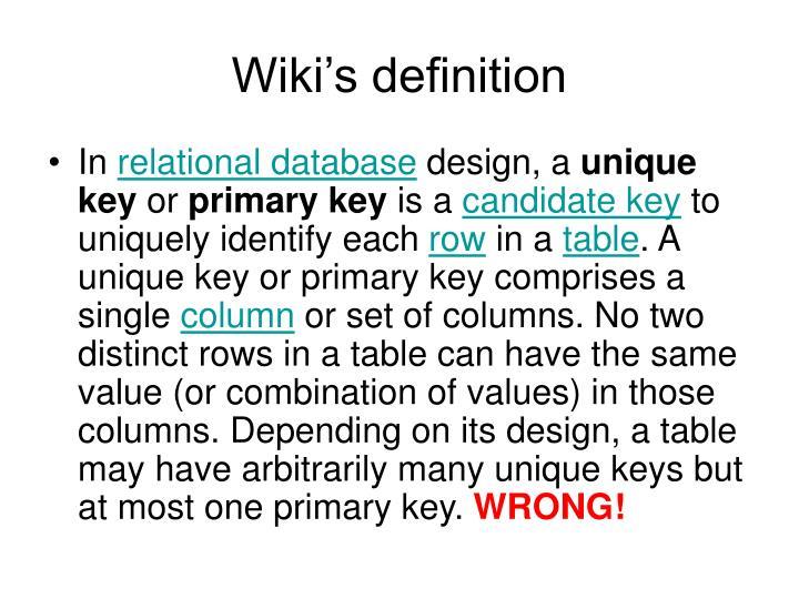 Wiki's definition