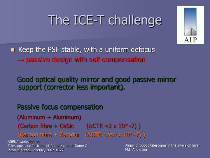 The ICE-T challenge