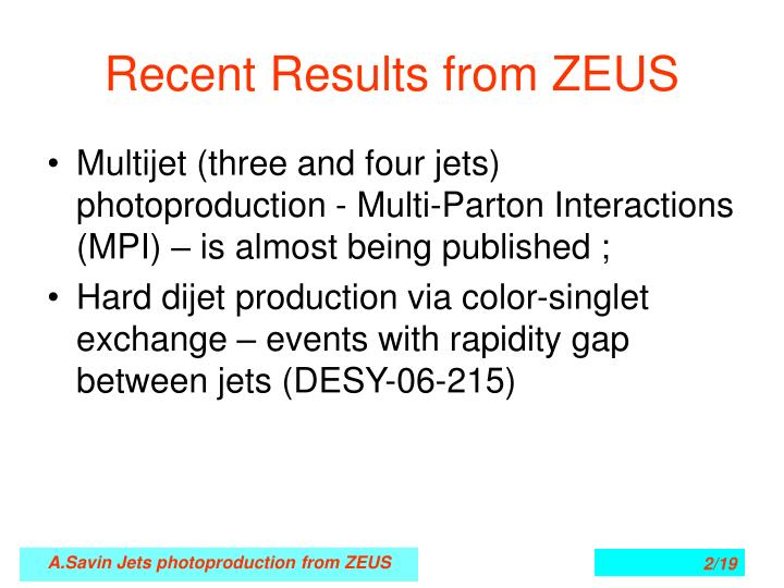 Recent results from zeus