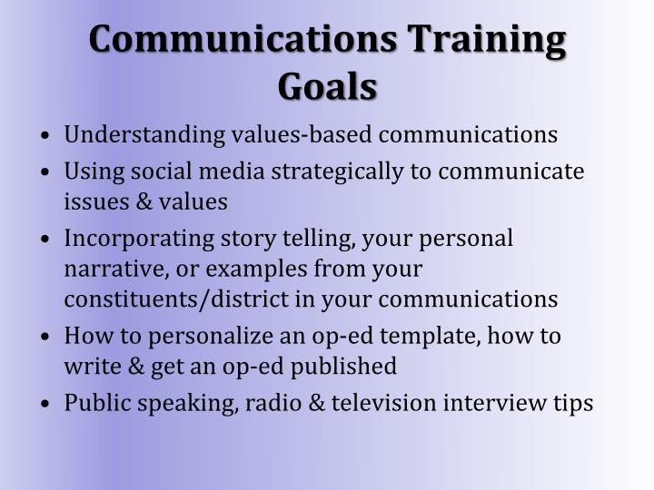 Communications Training Goals