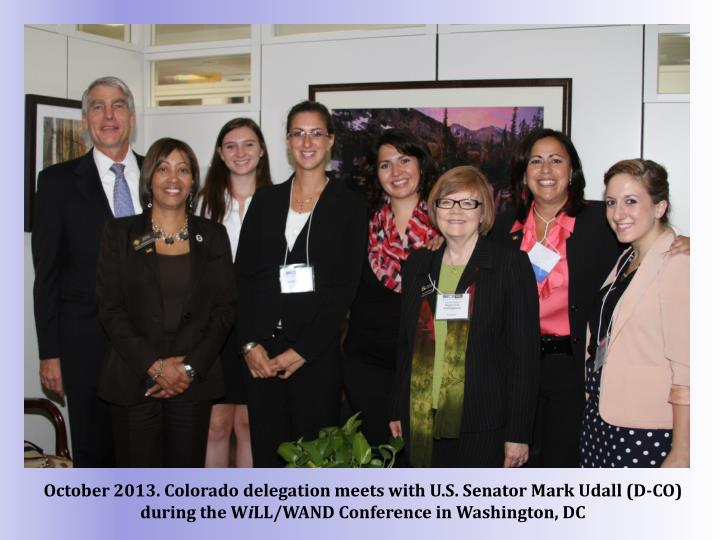 October 2013. Colorado delegation meets with U.S. Senator Mark Udall (D-CO) during the W