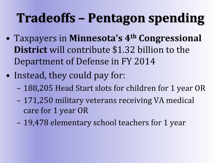 Tradeoffs – Pentagon spending