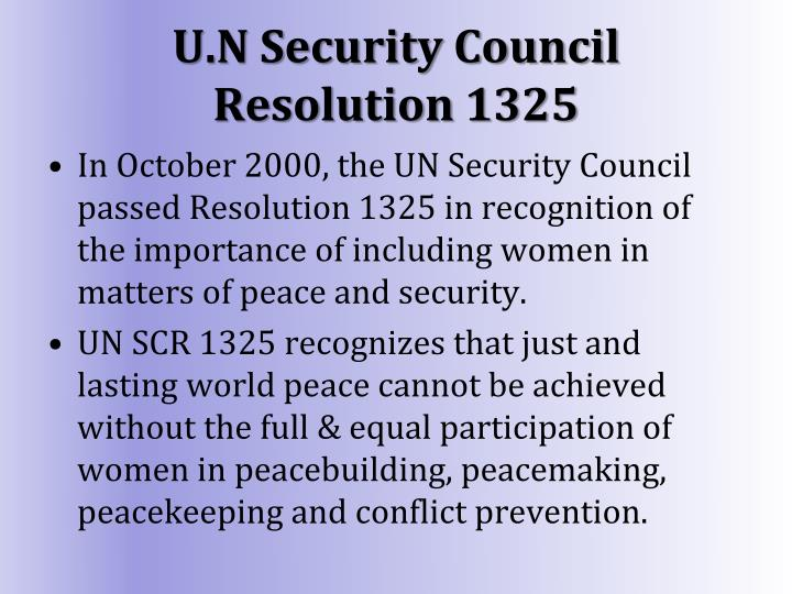 U.N Security Council Resolution 1325
