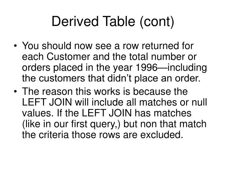 Derived Table (cont)