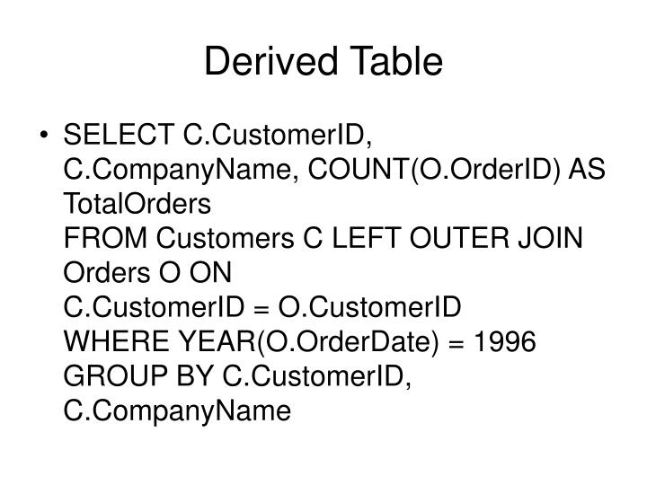 Derived Table