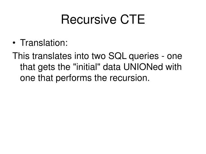 Recursive CTE