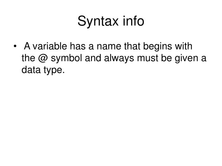 Syntax info