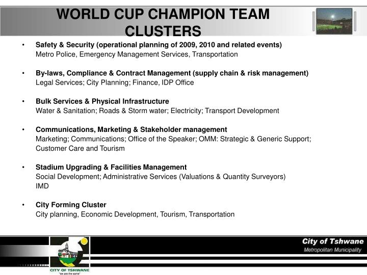 WORLD CUP CHAMPION TEAM CLUSTERS
