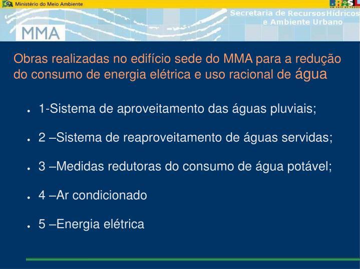 Obras realizadas no edifício sede do MMA para a redução do consumo de energia elétrica e uso racional de