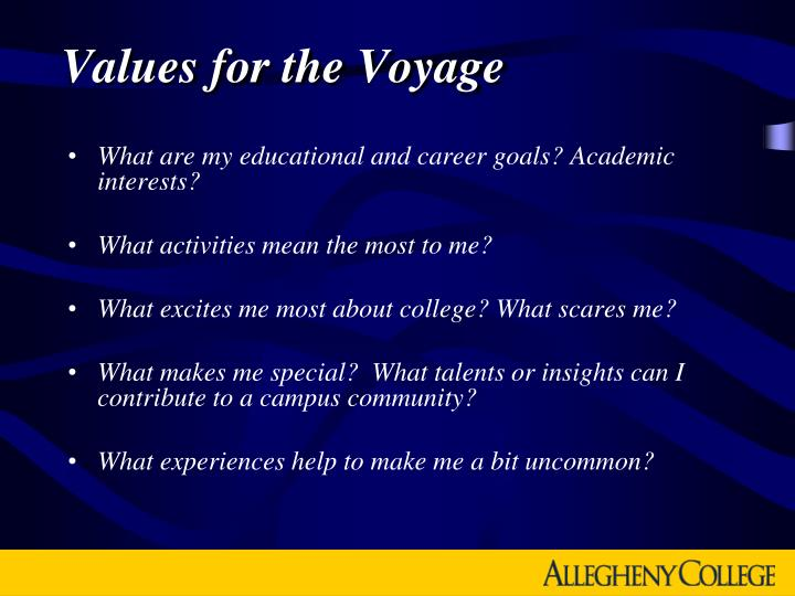 Values for the Voyage