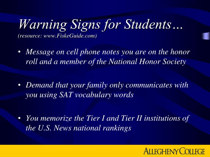 Warning Signs for Students…