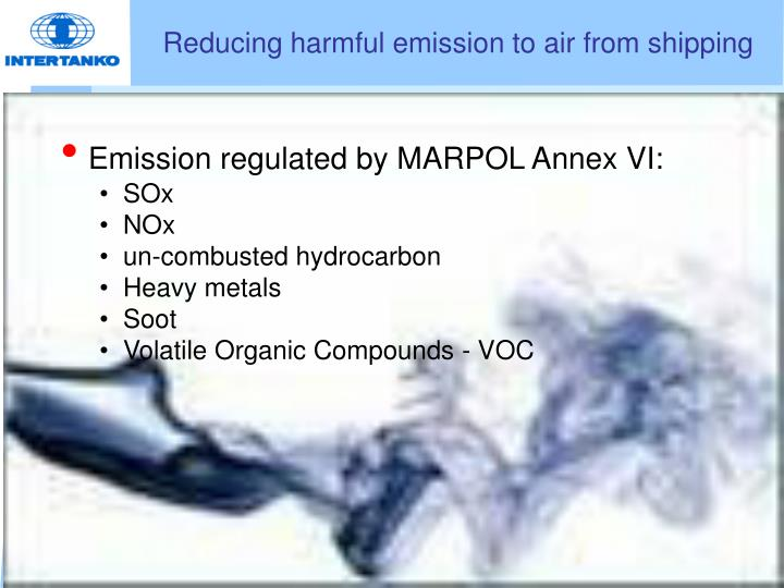 Reducing harmful emission to air from shipping