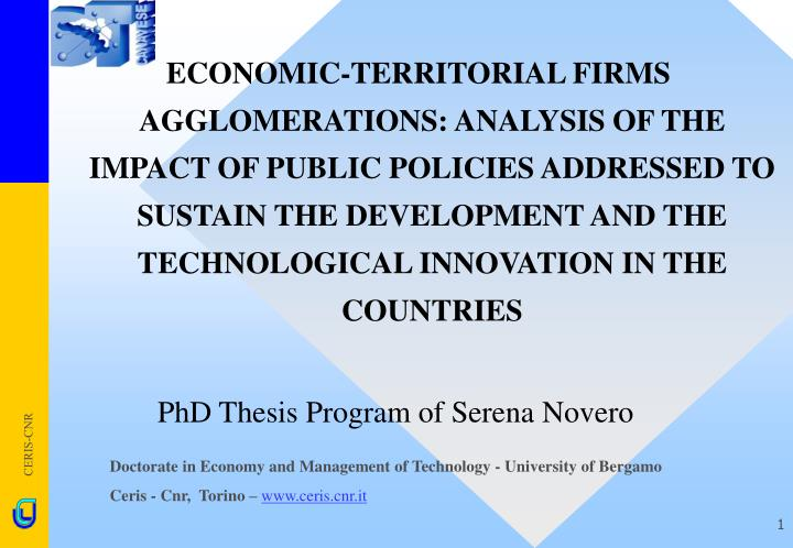 ECONOMIC-TERRITORIAL FIRMS AGGLOMERATIONS: ANALYSIS OF THE IMPACT OF PUBLIC POLICIES ADDRESSED TO SU...