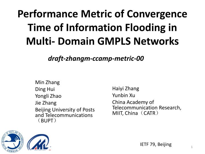 Performance metric of convergence time of information flooding in multi domain gmpls networks