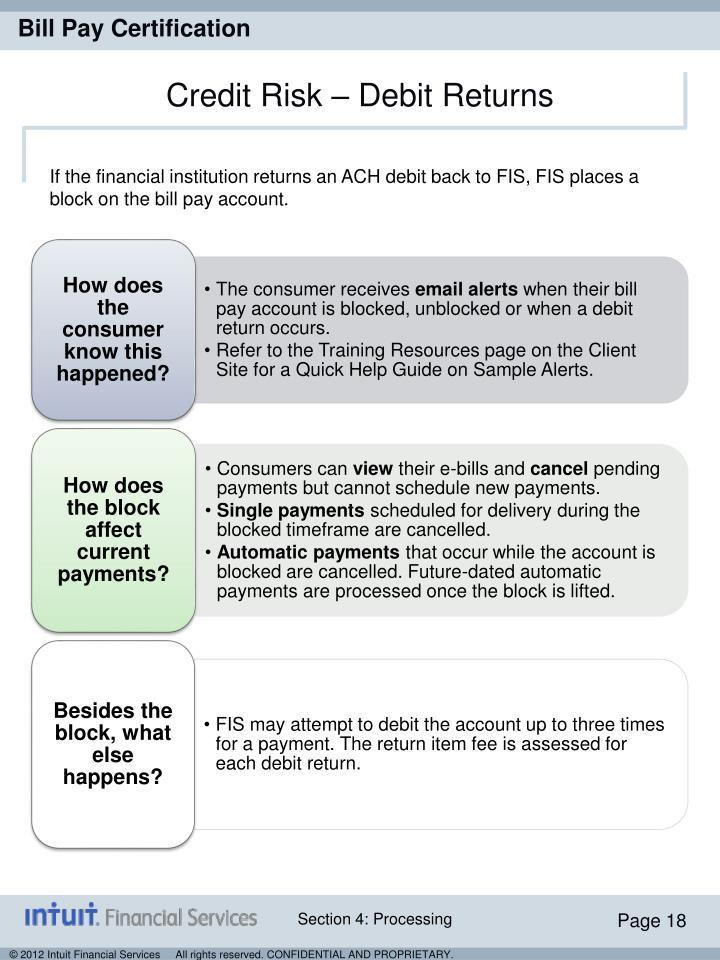 Credit Risk – Debit Returns