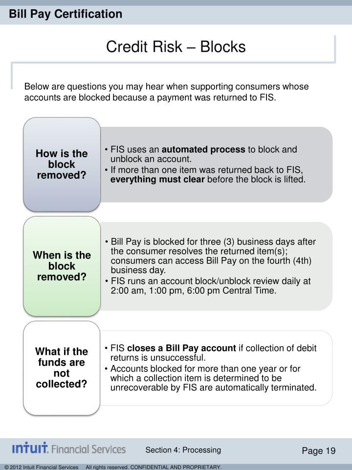 Credit Risk – Blocks