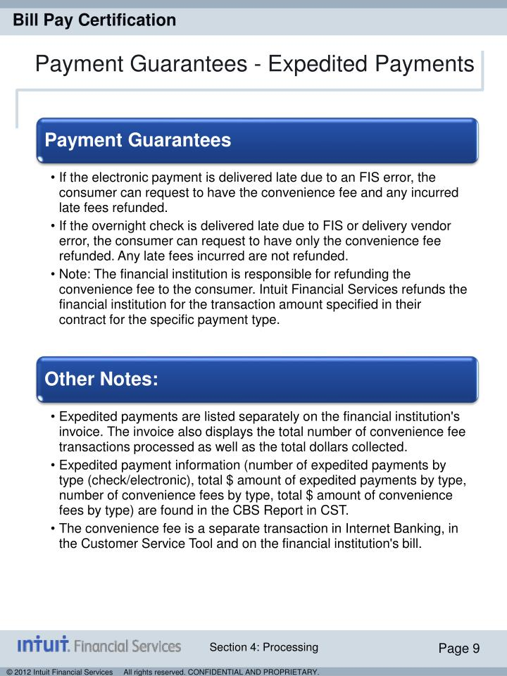 Payment Guarantees - Expedited Payments
