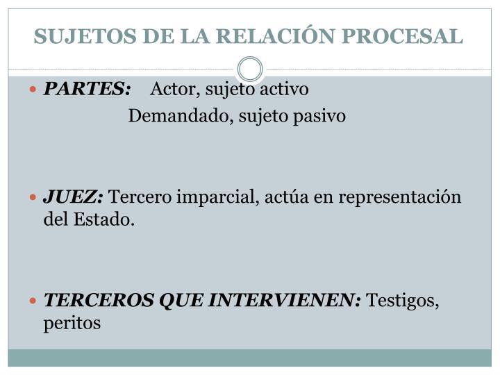 SUJETOS DE LA RELACIÓN PROCESAL