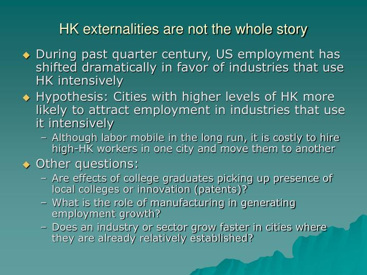 HK externalities are not the whole story