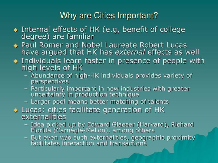 Why are Cities Important?