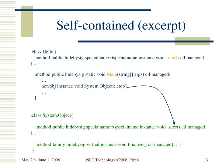Self-contained (excerpt)