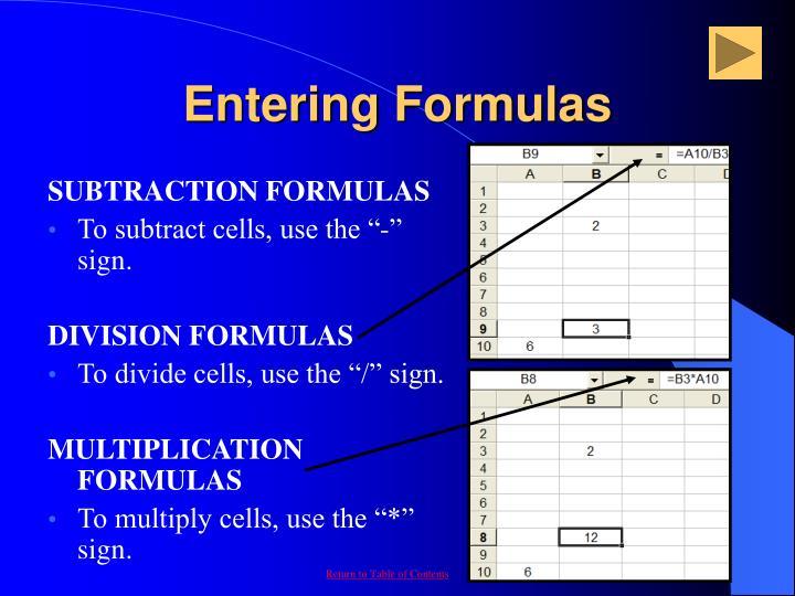 Entering Formulas