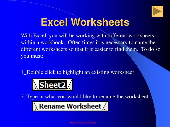 Excel Worksheets