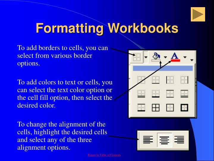Formatting Workbooks